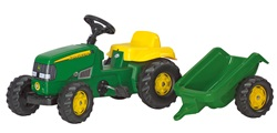022076.  John Deere Pedal Tractor and Trailer - by Rolly Toys